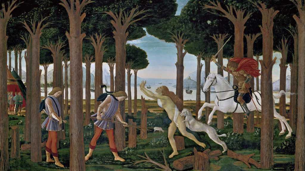 Nastagio és a megbüntetett nő Botticelli táblaképének egyikén
