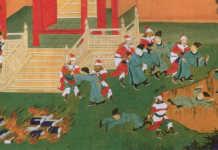 A könyvégetés és a konfuciánus tudósok elásása egy 18. századi kínai könyvillusztráción