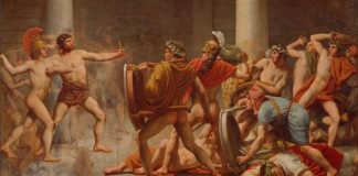 Odüsszeusz bosszút áll Pénelopé kérőin. Christoffer Wilhelm Eckersberg festménye (1814)