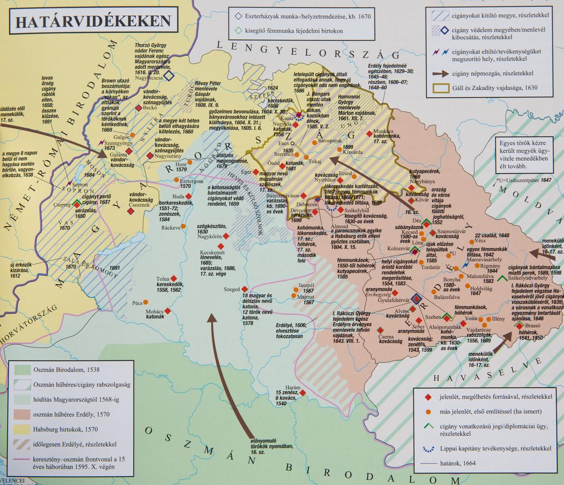 Bereznay András A cigányság történetének atlasza című munkájának egyik térképe