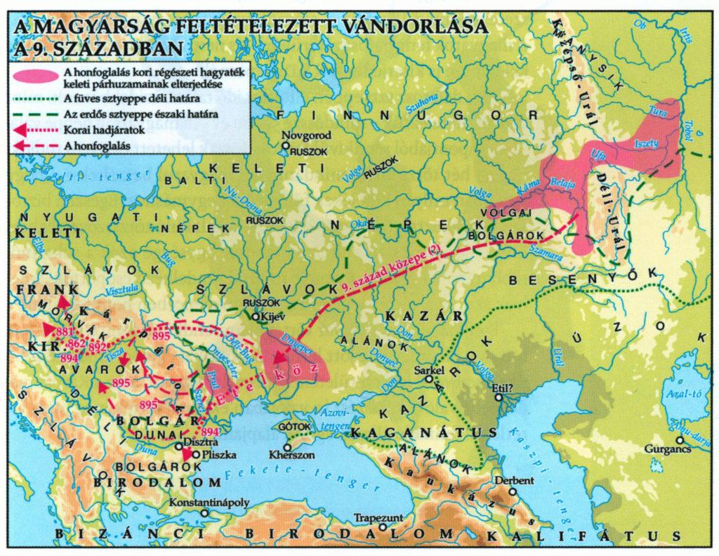 A magyarok feltételezett vándorlása a 9. században / Forrás: Magyarok a honfoglalás korában – Magyar őstörténet 2.